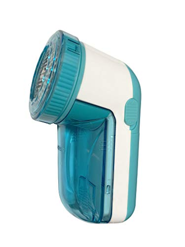 PRITECH - Quitapelusas eléctrico Adecuado para Todas Las Prendas, con Orificios de 3 tamaños en la Rejilla para Pelusas de Cualquier tamaño (14_cm Azul)