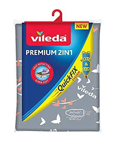 Vileda Premium 2 en 1 - Funda de planchar, tres capas, suave, encaja en cualquier tipo de tabla de entre 110-130 cm de largo y 30-45 cm de ancho, Color Gris y Blanco