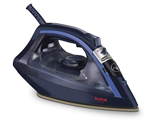 Tefal Virtuo FV1739 Plancha de vapor 2000 W, no necesita configuración, golpe de vapor 90 gr/min, vapor continuo de 24 gr/min con suela cerámica, anti-cal y anti-goteo, para todo tipo de ropa