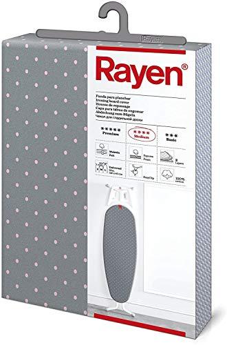 Rayen - Funda para tabla de planchar Universal con sistema EasyClip, 3 capas (Espuma, Muletón y tejido 100% de algodón), 130x47 cm, Gris con lunares rosas