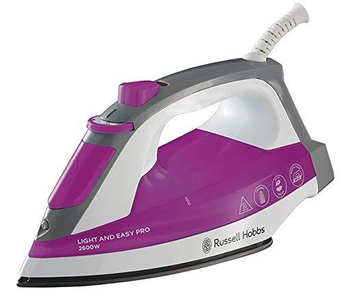 Russell Hobbs Light & Easy Pro Plancha de Ropa - 2600W, Suela de Cerámica, Golpe de Vapor 95 g, Vapor Continuo 30 g, Rosa y Blanco - 23591-56