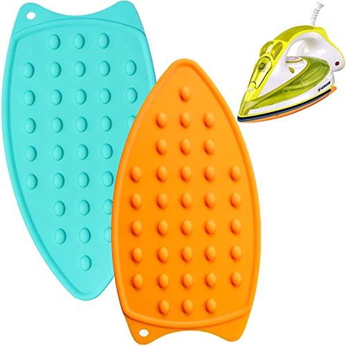 Almohadilla de Hierro de Silicona,2 Piezas Tabla de planchar de silicona, resistente al calor, antideslizante,fácil de limpiar para mesas de planchado, planchas de vapor, bandejas(Verde, naranja)