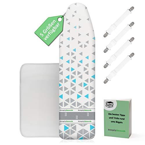 SimplySmooth Funda para Tabla de Planchar 150 x 50 cm, Apta para Todas Las planchas de Vapor, tensores, paño de Planchar y Libro electrónico, Planchado rápido, Acolchado de algodón Puro