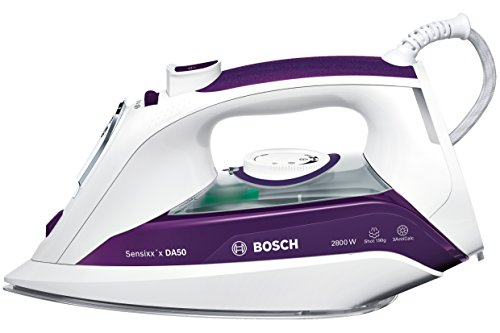 Bosch Hogar Sensixx'x DA50 Plancha de vapor, 2800 W, 0.35 litros, 350, Plástico, blanco y violeta oscuro