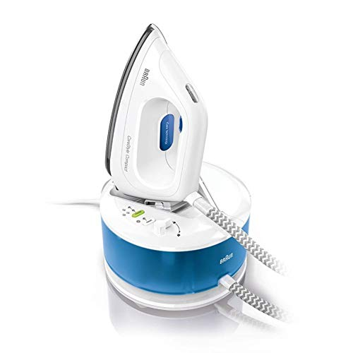 Braun Hogar CareStyle Compact IS2043 Centro de Planchado, Suela 3D Eloxal Plus, Vapor Constante, 2200 W, 1.3 litros, Blanco/Azul
