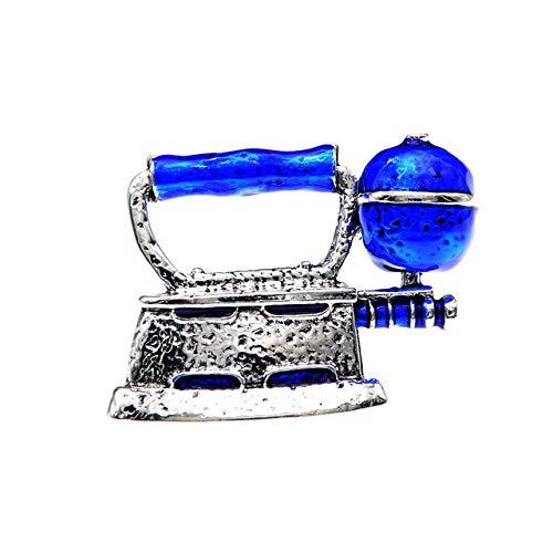 YJRIC Broche Pin de Plancha de Vapor esmaltado Unisex Mujeres y Hombres Broches Pin de diseño Creativo Joyería de Moda 4 Colores Disponibles, Azul