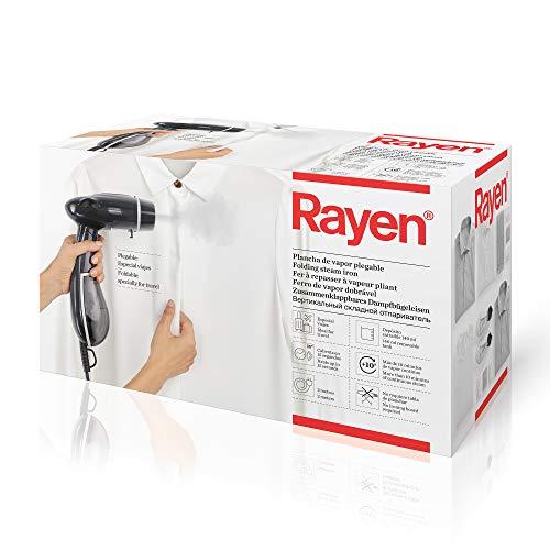 Rayen Ropa de Vapor Vertical | Plancha Depósito extraíble 140 ml | Portátil Plegable | Especial Viajes | Medidas: 26 x 16.5 x 12 cm, Negro