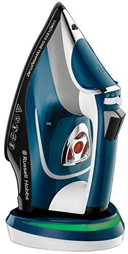 Russell Hobbs Cordless One Temperature Plancha de Ropa Sin Cable - 2600 W, Suela de Cerámica, Golpe de Vapor 210 g, Antical, Función de Autolimpieza, Azul - 26020-56