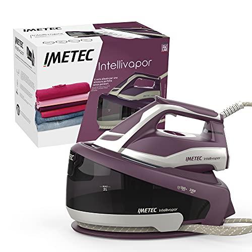 Imetec Intellivapor, Centro de Planchado con tecnología Intelli System, ajuste automático de temperatura y vapor, suela de cerámica, 2300 W, salida de vapor de 260 g, 3 filtros antical