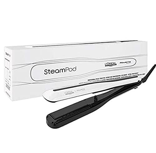 L'Oreal Professionnel - Steampod 3.0, Plancha de Pelo Profesional Potenciada por Vapor, para un Cabello Liso y Ondas Naturales, Enchufe Europeo, color Blanco