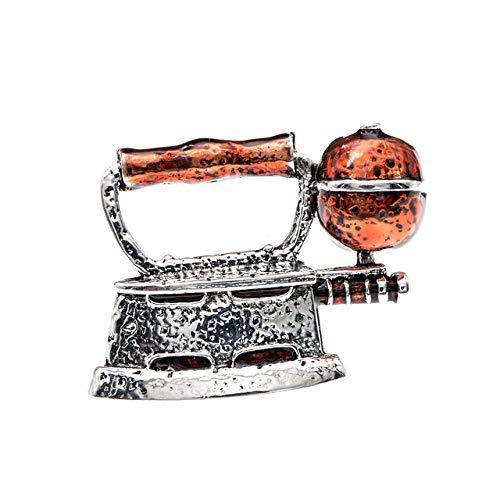 YJRIC Broche Pin de Plancha de Vapor esmaltado Unisex Mujeres y Hombres Broches Pin de diseño Creativo Joyería de Moda 4 Colores Disponibles, marrón