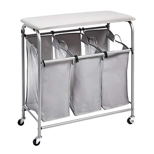 Amazon Basics - Clasificador de ropa para la colada con 3cestas y tabla de planchar de sobremesa, gris