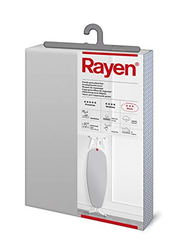 Rayen 6152.11 Funda para Tabla de Planchar, Algodón, Gris Claro Metalizado, 130x47 cm