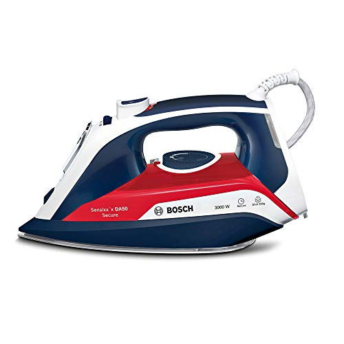Bosch Hogar Sensixx'x DA50 Plancha de vapor, 3000 W, 350 milliliters, Cerámica, 5 Velocidades, Azul/Rojo/Blanco