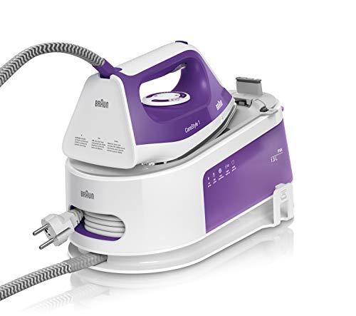 Braun Carestyle 1 IS1014VI - Centro de Planchado (6 bares de presión 120 g/min y golpe de vapor de 360 g/min, suela freeglide, EasyLock, EasyCalcClean) blanco y morado