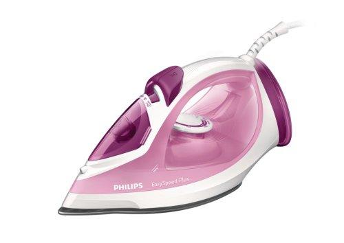 Philips GC2042/40 Easy Speed Plus - Plancha de vapor con suela de cerámica, 2100 W, color blanco y rosa