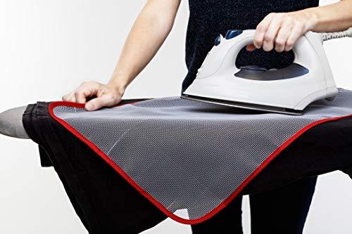 SMART-T-HAUS Paño Protector para Planchar Translucido Anti Brillos Y Quemaduras, Blanco/Borde/Rojo, 60 X 40 Cm