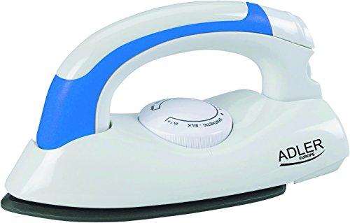 Adler AD-5015 Plancha de Viaje, 700 W, 0 Decibeles, Acero Inoxidable, Blanco/Azul