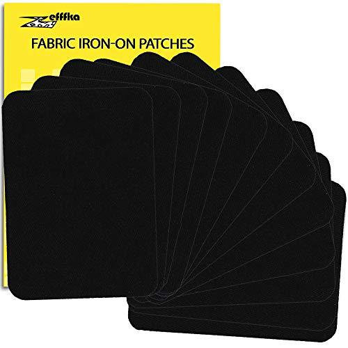 ZEFFFKA Tela de Calidad Premium Parches de Jean Aplicables con Plancha Interior & Exterior Pegamento Mas Fuerte 100% Algodón Negro Kit de Decoración 12 Piezas Tamaño 3' x 4-1/4' (7.5 cm x 10.5 cm)