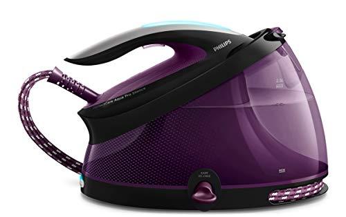 Philips Centro de planchado GC9420/80 - Plancha sin quemaduras ni necesidad de realizar ajustes de la temperatura, 7 bares, golpe de vapor 460 g, autoapagado, ultraligera, suela especial, color morado