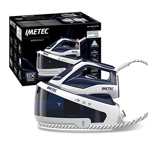 Imetec ZeroCalc Pro PS2 2400 - Centro de Planchado con tecnología antical, hasta 5.8 bares, golpe de vapor de 260 g, placa de cerámica deslizante, 3 filtros antical incluidos