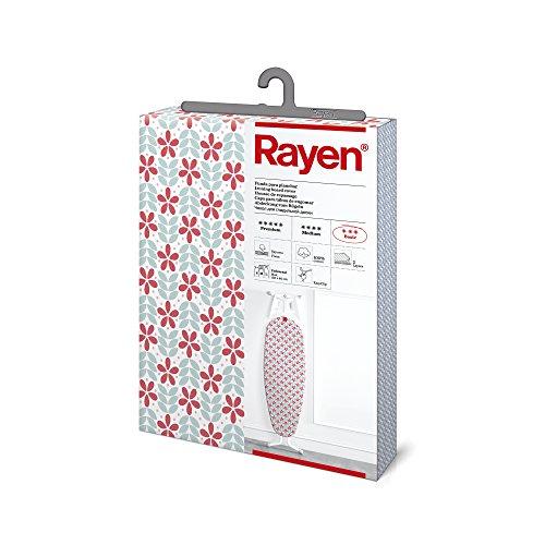 Rayen | Funda para tabla de planchar | Universal | Fácil de colocar con sistema EasyClip | 2 capas: Espuma y tejido 100% algodón estampado | Gama Basic de Rayen | Medidas: 126 x 40cm | Floral