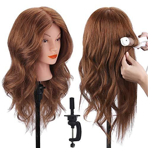 Cabeza de Maniquí, TopDirect 18' 100% Cabello Humano Real Practicas Formación Muñeca de la Cosmetología para Peluquería, Cabeza de Muñeca con Soporte de Mesa + Accesorios de Peinado