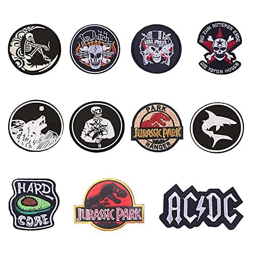 Parches,11 piezas parches para planchar , Parche Calavera Rock Punk, ,parches DIY cosidos/planchado para chaqueta, vaqueros, pantalones, mochila, ropa